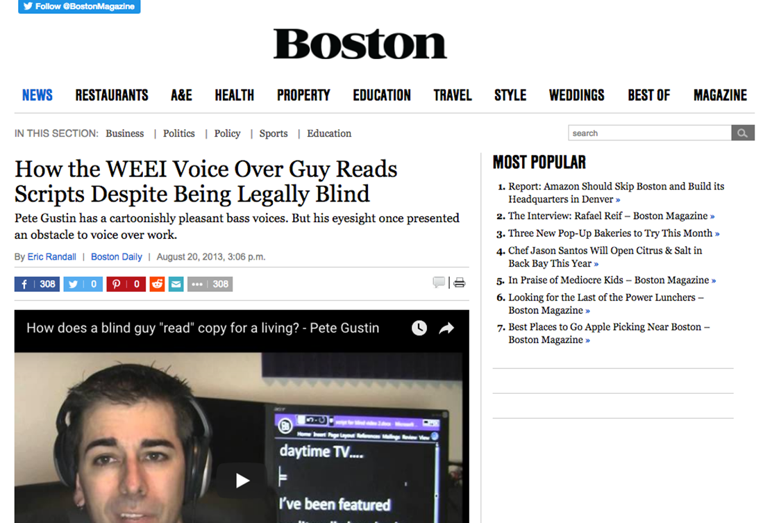 Boston.com Pete Gustin Article