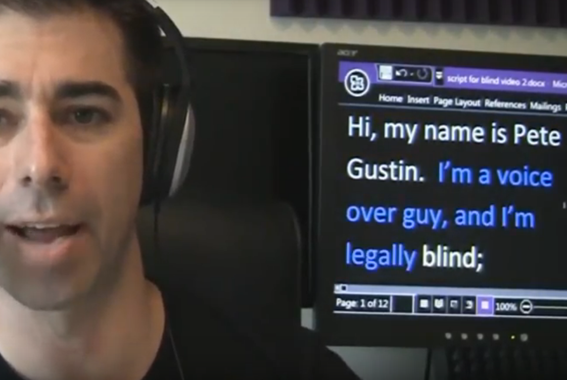 "Pete Gustin - How does a blind guy ""read"" copy."
