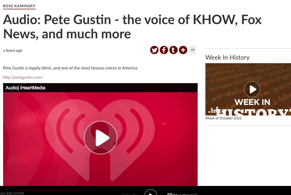 Pete Gustin KHOW Interview
